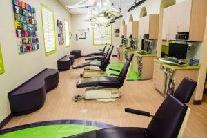 Twinsburg pediatric dental office hygiene bay in purple and greens